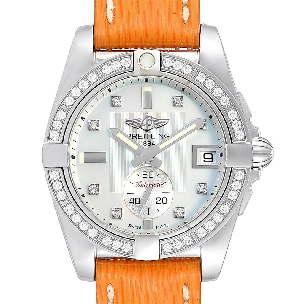 Breitling Galactic 36 Orange Strap MOP Steel Diamond Ladies Watch A37330 SwissWatchExpo