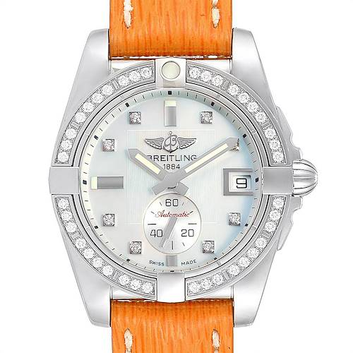Photo of Breitling Galactic 36 Orange Strap MOP Steel Diamond Ladies Watch A37330