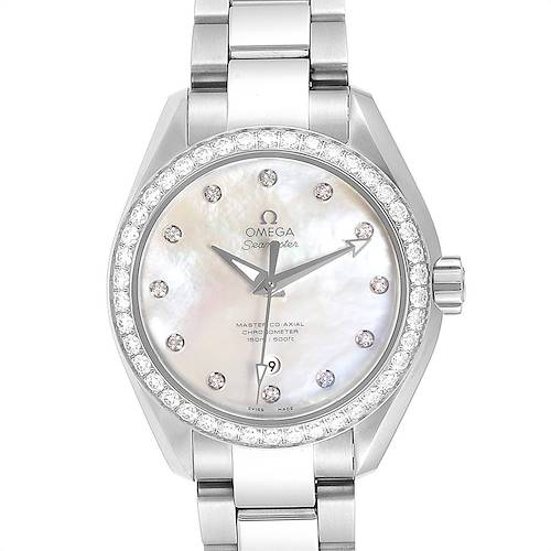 Photo of Omega Aqua Terra 34 Steel Diamond Ladies Watch 231.15.34.20.55.002 Box Card
