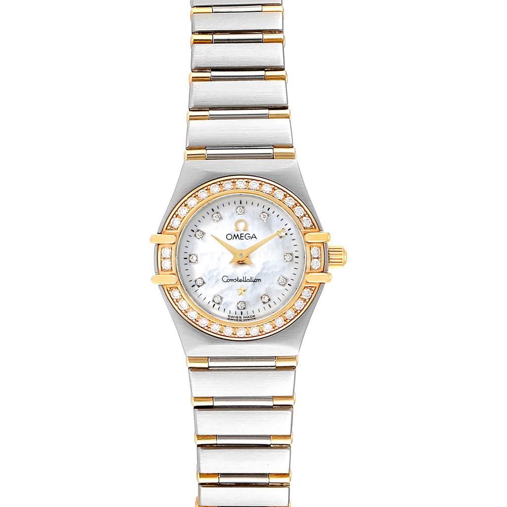 Omega Constellation Steel Yellow Gold Diamond Ladies 1367.75.00 Card SwissWatchExpo
