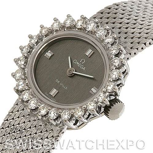 2697 Omega  Deville Vintage Ladies 18k W Gold Diamond Watch SwissWatchExpo