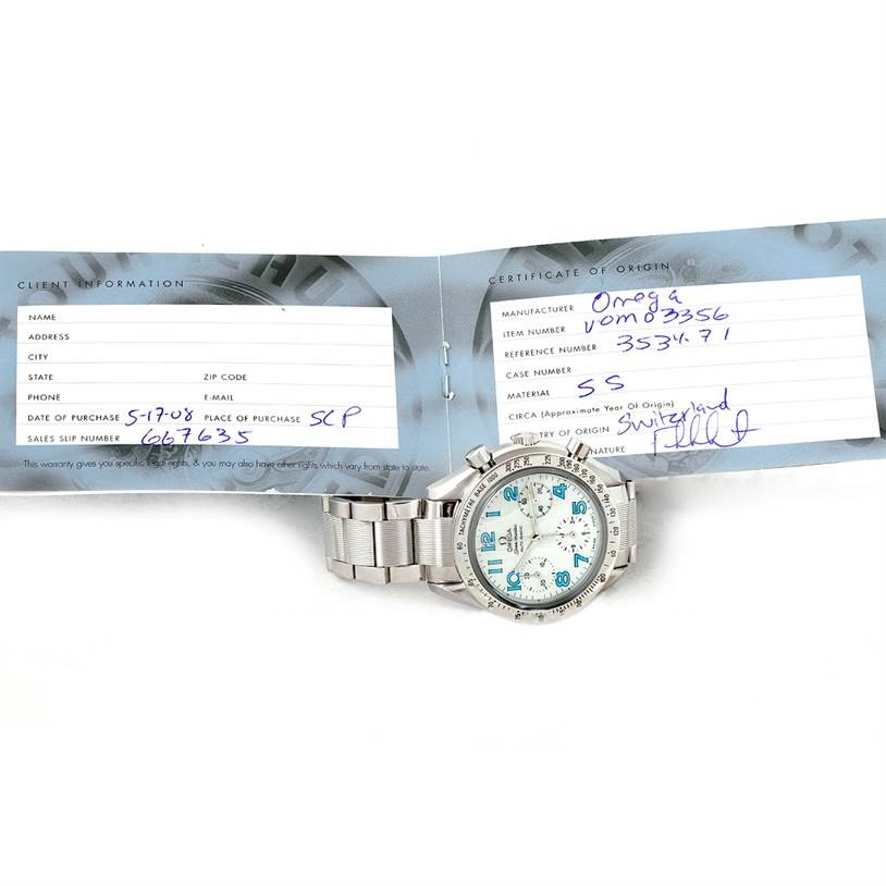 7905 Omega Speedmaster Ladies Mother of Pearl Dial Watch 3534.71.00 SwissWatchExpo