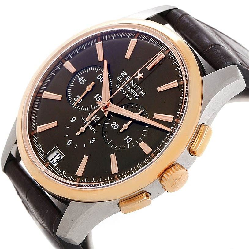 7898 Zenith El Primero Captain Steel Rose Gold Watch 51.2112.400 SwissWatchExpo