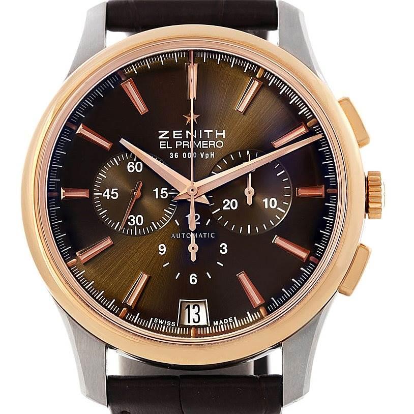 Zenith El Primero Captain Steel Rose Gold Watch 51.2112.400