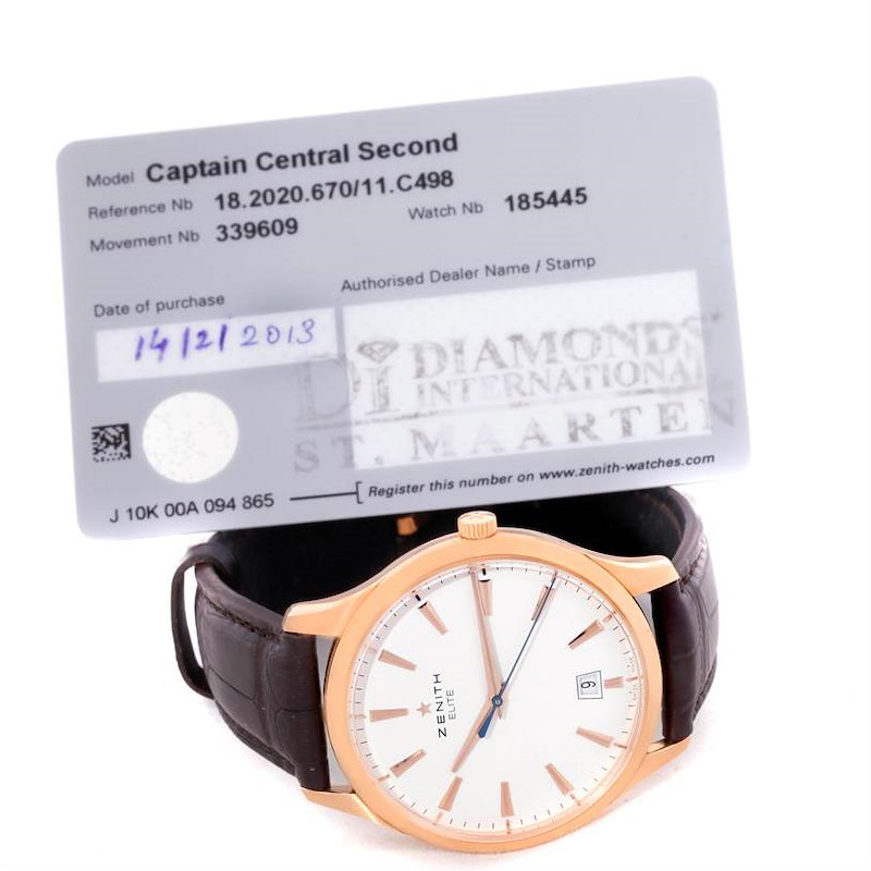 Zenith Captain Central Second 18K Rose Gold Watch 18.2020.670 Box Papers SwissWatchExpo