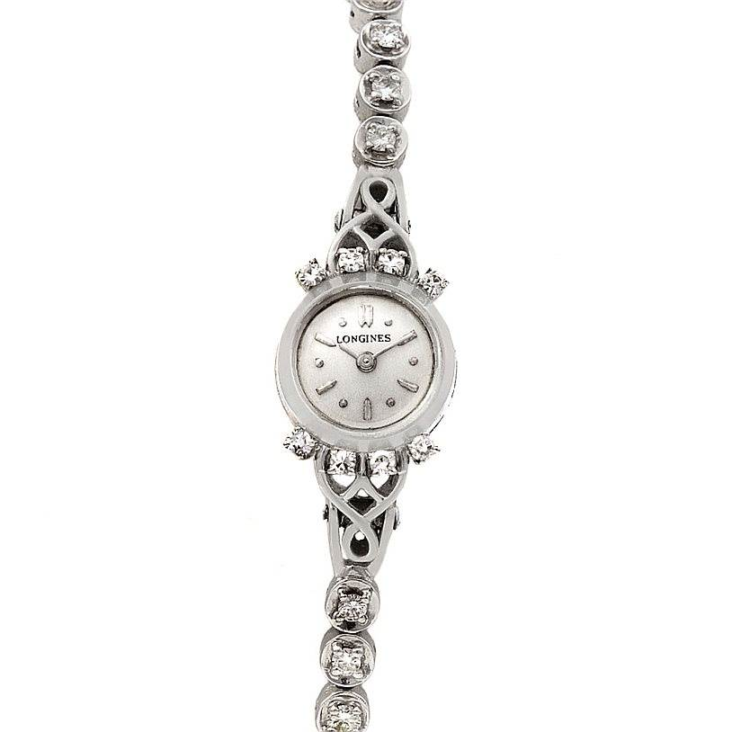 2345 Longines Vintage Ladies 14k w Gold Diamonds Watch SwissWatchExpo