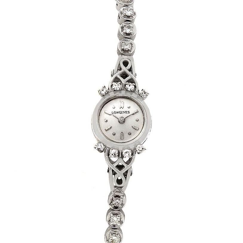 2345 Longines Vintage Ladies 14k w Gold Diamonds Watch SwissWatchExpo