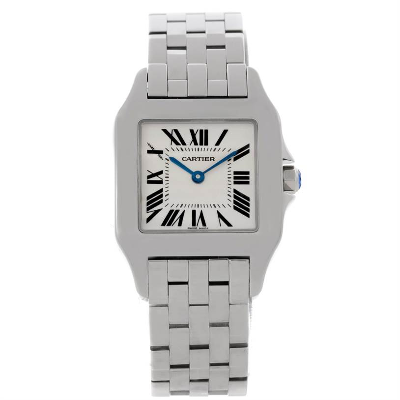 8578 Cartier Santos Demoiselle Steel Silver Dial Midsize Watch W25065Z5 SwissWatchExpo