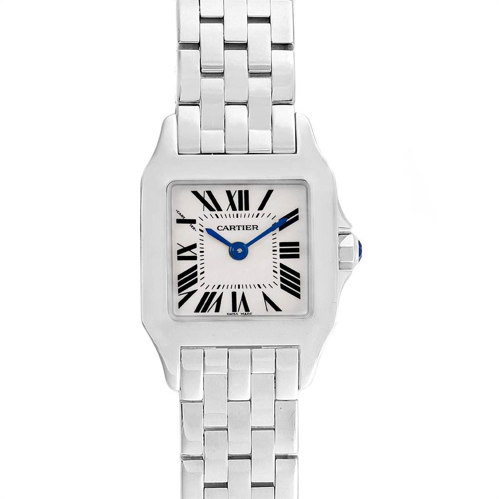 10793 Cartier Santos Demoiselle Steel Silver Dial Small Watch W25064Z5 SwissWatchExpo