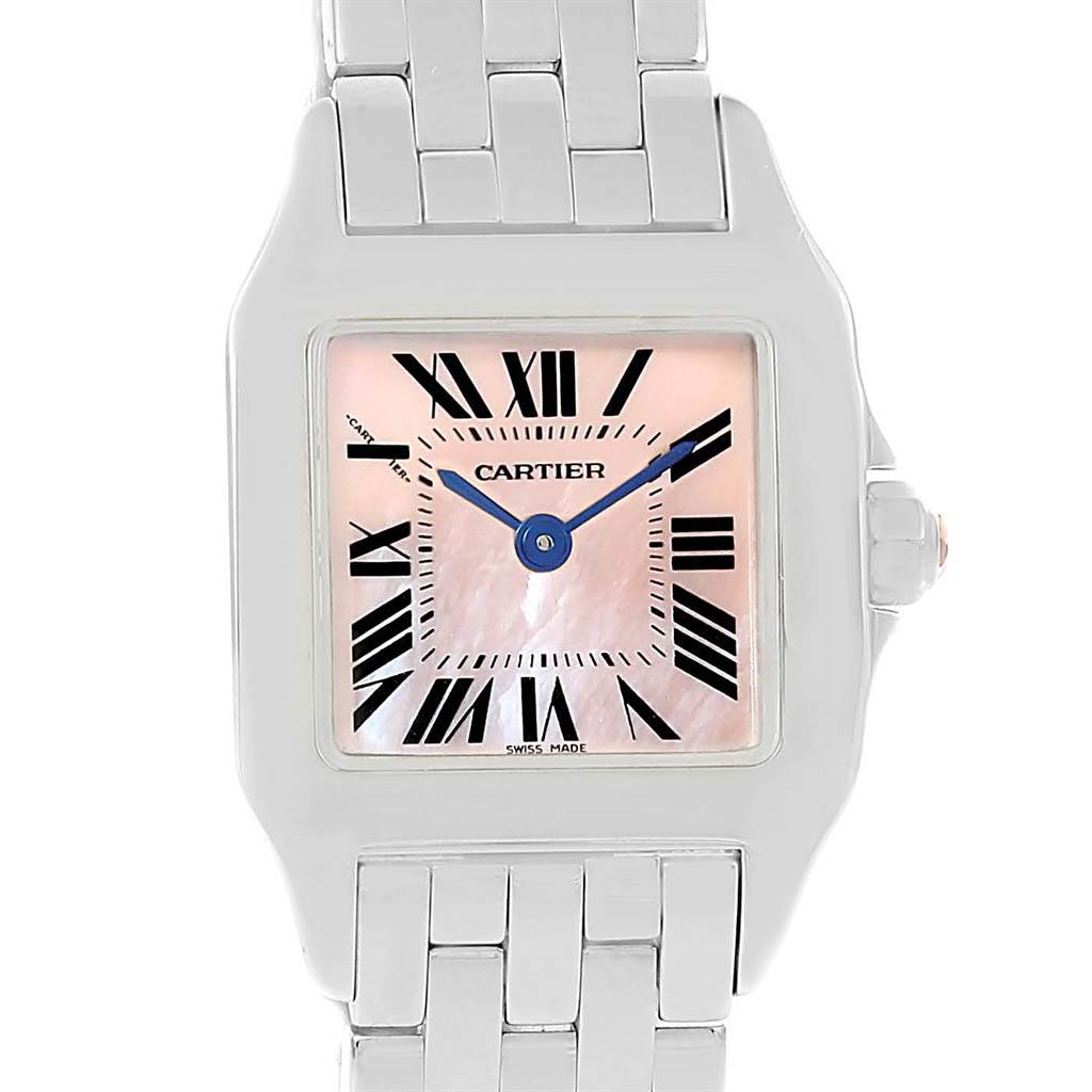 13377 Cartier Santos Demoiselle Pink MOP Dial Steel Ladies Watch W25075Z5 SwissWatchExpo