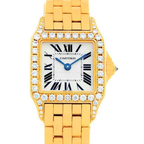 Photo of Cartier Santos Demoiselle 18K Yellow Gold Diamond Ladies Watch WF9001Y7
