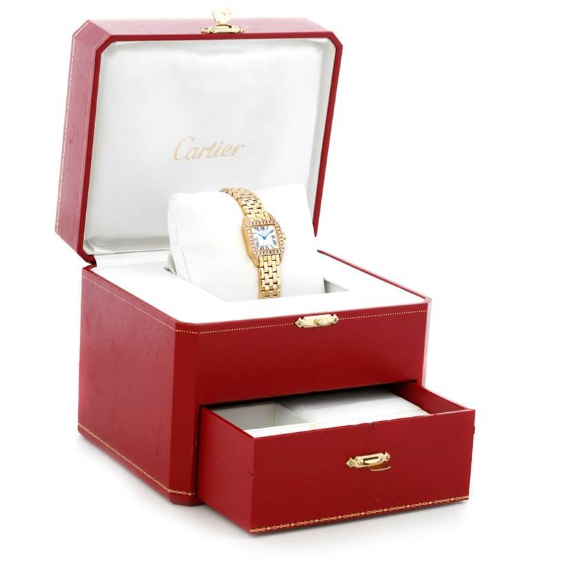 5858 Cartier Santos Demoiselle Ladies 18K Yellow Gold Diamond Watch WF9001Y7 SwissWatchExpo
