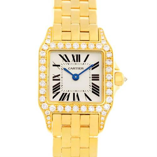 Photo of Cartier Santos Demoiselle Ladies 18K Yellow Gold Diamond Watch WF9001Y7