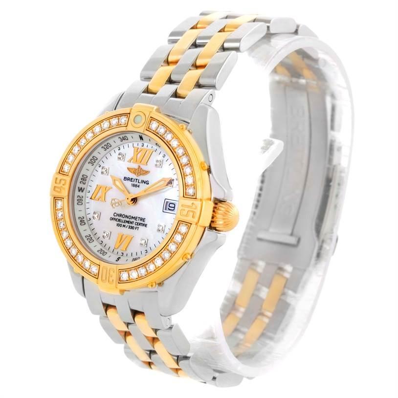 Breitling Ladies Steel 18K Yellow Gold MOP Dial Diamond Watch D71365 SwissWatchExpo