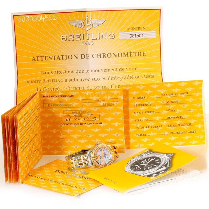 10225 Breitling Ladies Steel 18K Yellow Gold MOP Dial Diamond Watch D71365 SwissWatchExpo