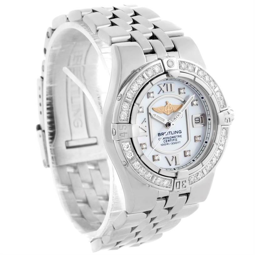 10227 Breitling Starliner Ladies Mother of Pearl Diamond Watch A71340 SwissWatchExpo