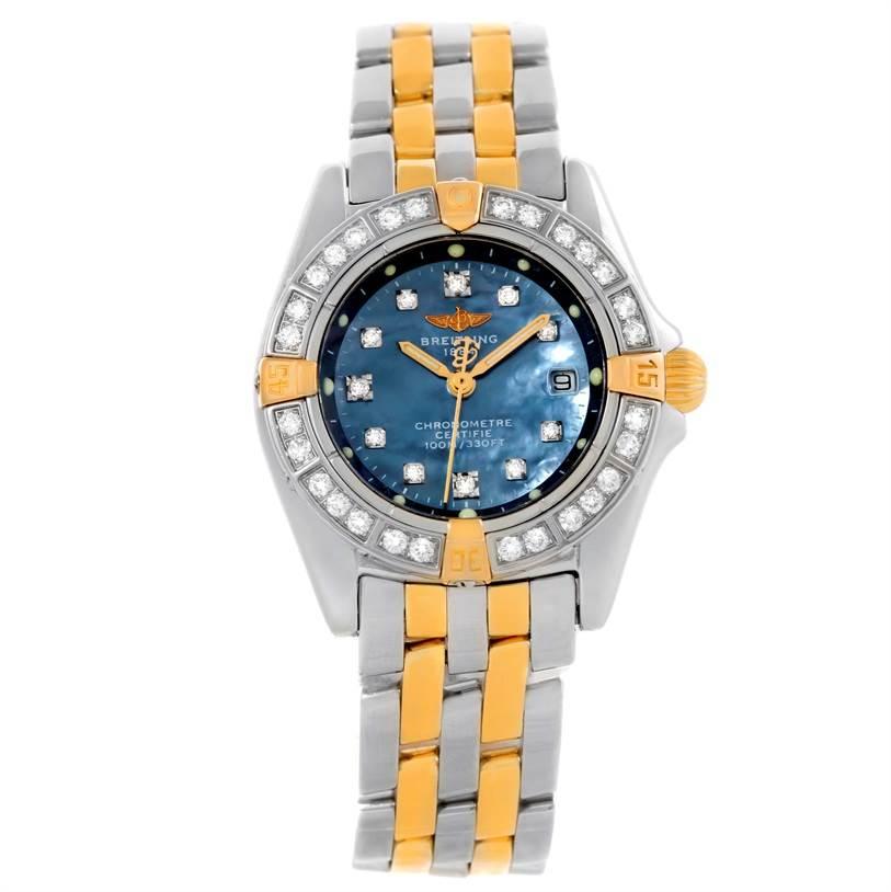 10022 Breitling Callisto Ladies Steel Gold MOP Diamond Watch A72345 SwissWatchExpo
