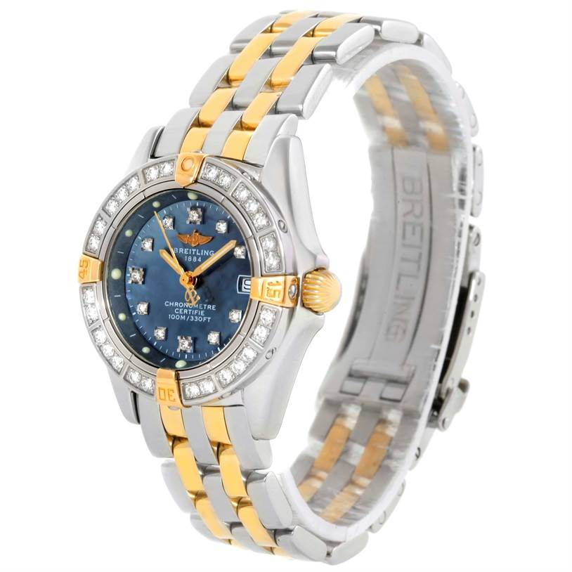 Breitling Callisto Ladies Steel Gold MOP Diamond Watch A72345 SwissWatchExpo