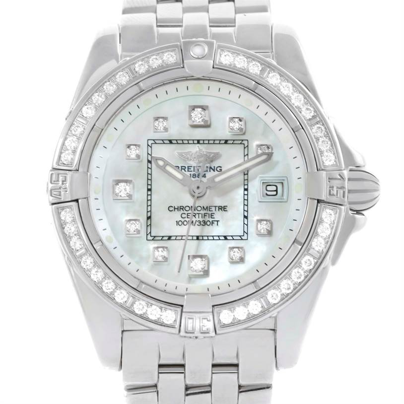 10323 Breitling Windrider Cockpit Ladies Mother Pearl Diamond Watch A71356 SwissWatchExpo