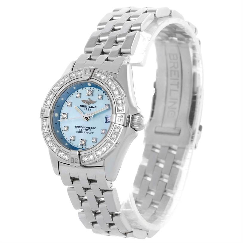 10283 Breitling Callisto Ladies Blue Mother of Pearl Diamond Watch A72345 SwissWatchExpo
