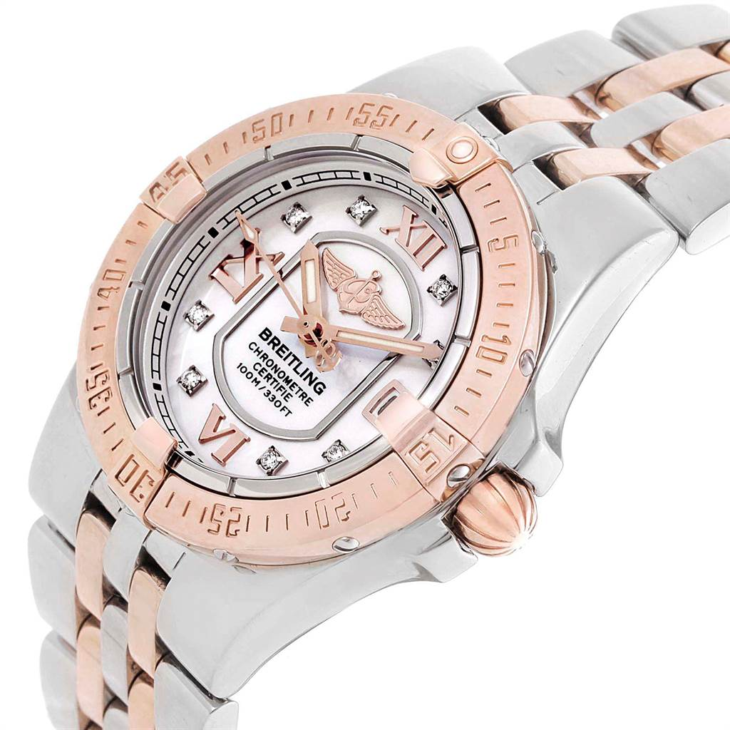 10589A Breitling Galactic 30 Steel Rose Gold Diamond Ladies Watch C71340  SwissWatchExpo