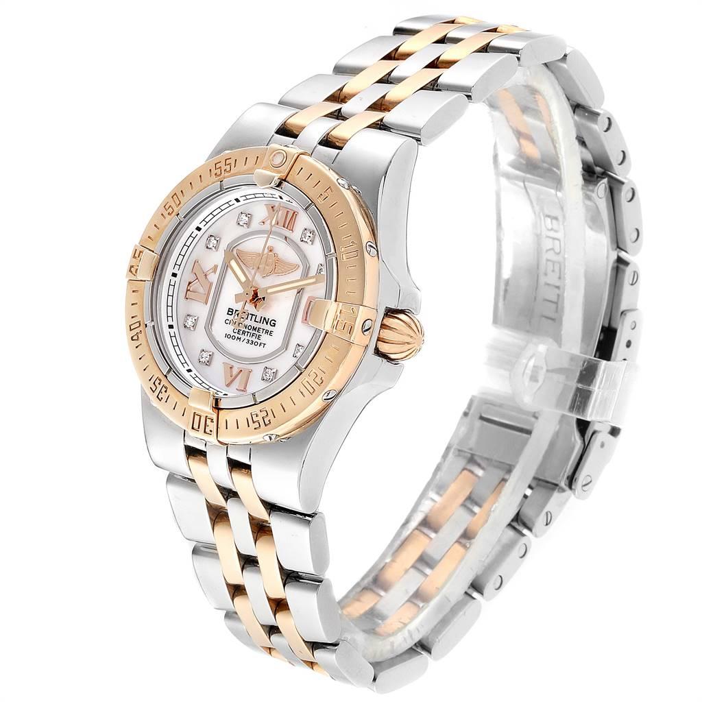 Breitling Galactic 30 Steel Rose Gold Diamond Ladies Watch C71340 SwissWatchExpo