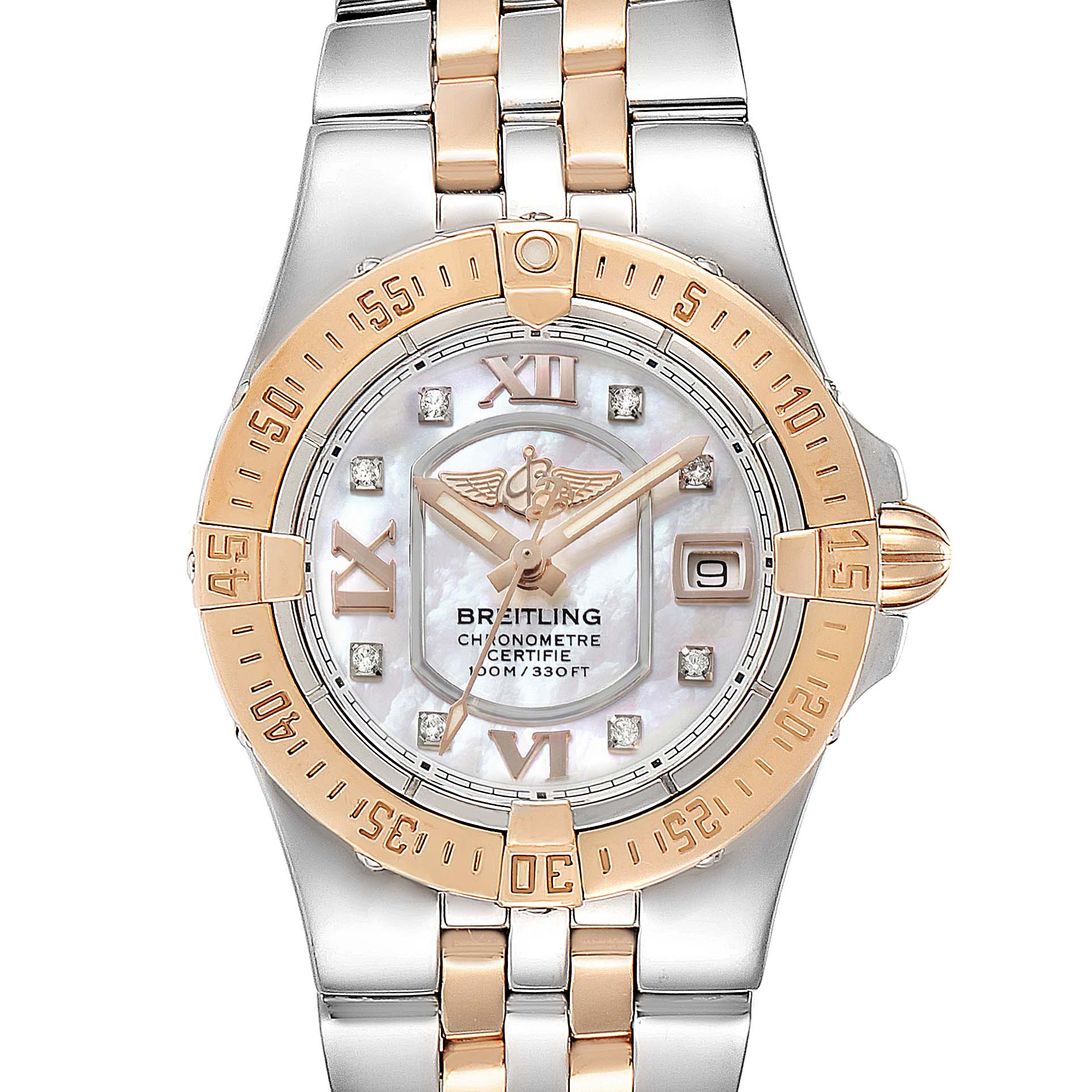 Breitling Galactic 30 Steel Rose Gold Diamond Ladies Watch C71340 SwissWatchExpo