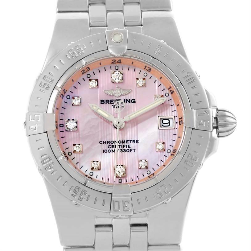 10617 Breitling Starliner Ladies Pink Mother of Pearl Diamond Watch A71340 SwissWatchExpo