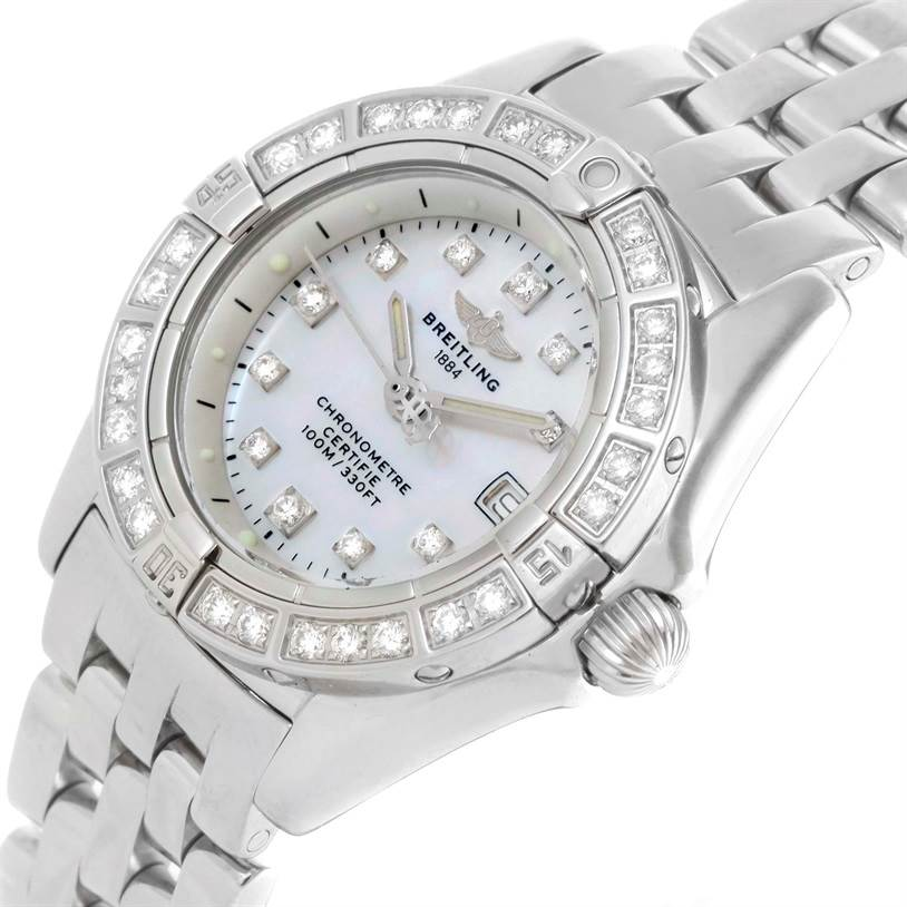 10520 Breitling Callisto Ladies Mother of Pearl Diamond Watch A72345 SwissWatchExpo