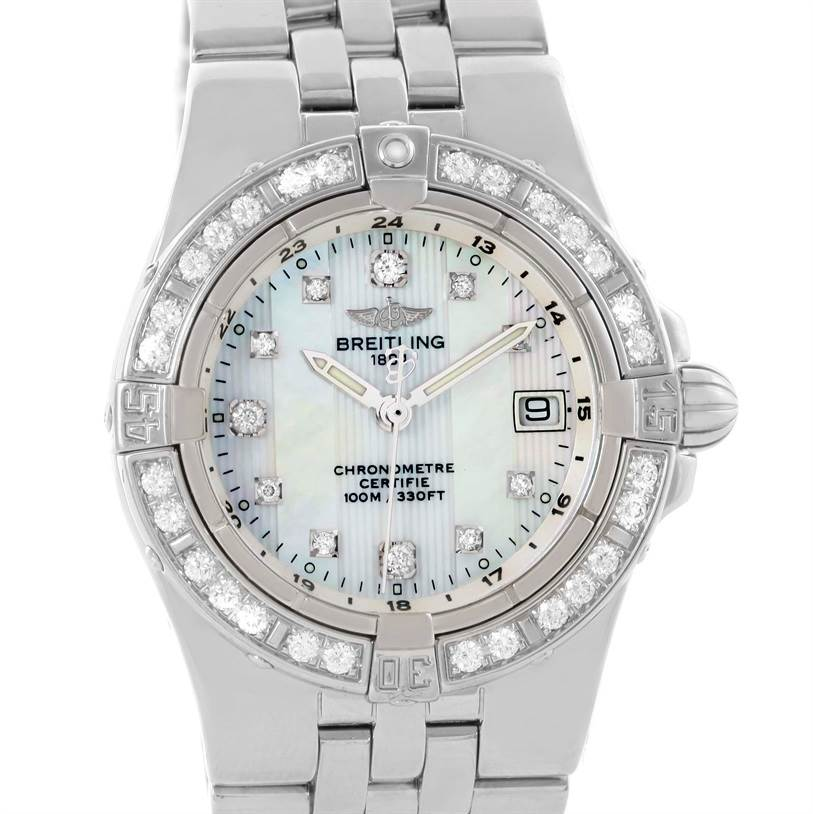 10796 Breitling Starliner Ladies Mother of Pearl Diamond Watch A71340 SwissWatchExpo