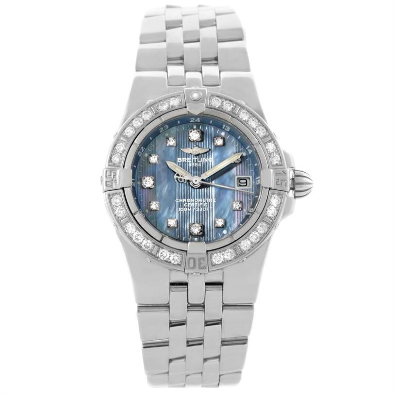 11054 Breitling Starliner Ladies Blue Mother of Pearl Diamond Watch A71340 SwissWatchExpo