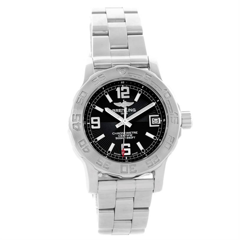 11128 Breitling Colt 33 Black Dial Stainless Steel Ladies Watch A77380 SwissWatchExpo