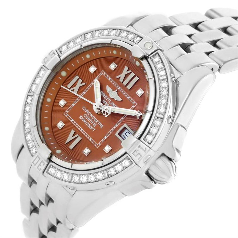 Breitling Windrider Cockpit Ladies Copper Diamond Dial Watch A71356 SwissWatchExpo