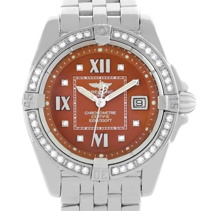 Breitling Windrider Cockpit Ladies Copper Diamond Dial Watch A71356 SwissWatchExpo