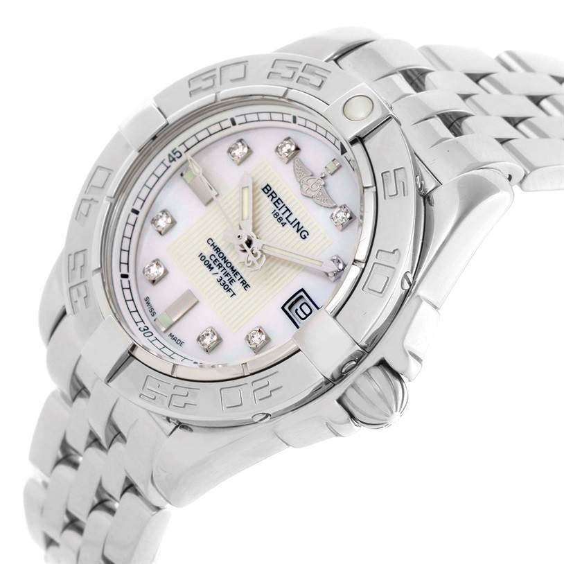 11159 Breitling Windrider Cockpit Ladies Mother Pearl Diamond Watch A71356 SwissWatchExpo