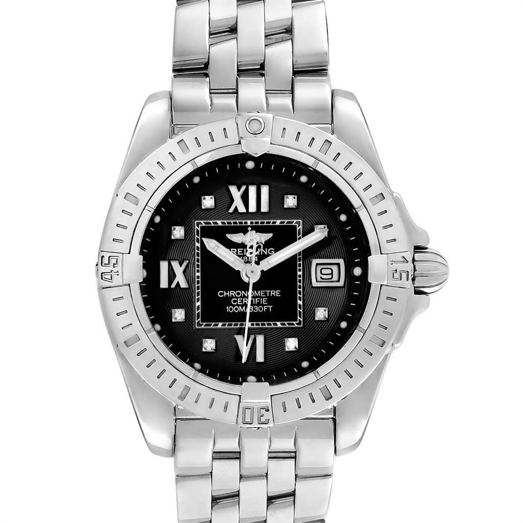 11158 Breitling Windrider Cockpit Ladies Black Diamond Ladies Watch A71356 SwissWatchExpo