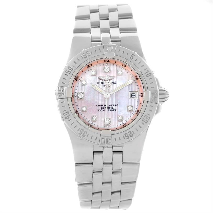 Breitling Starliner Pink Mother of Pearl Diamond Quartz Watch A71340 SwissWatchExpo