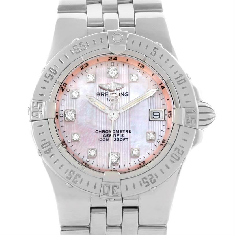 11151 Breitling Starliner Pink Mother of Pearl Diamond Quartz Watch A71340 SwissWatchExpo