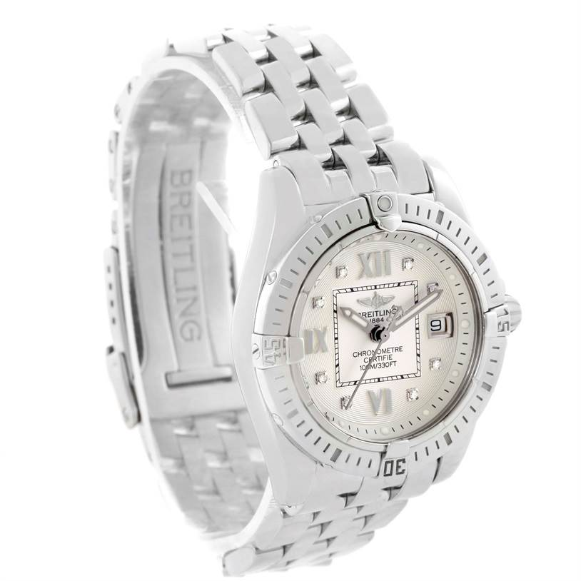 Breitling Windrider Cockpit Silver Diamond Dial Ladies Watch A71356 SwissWatchExpo