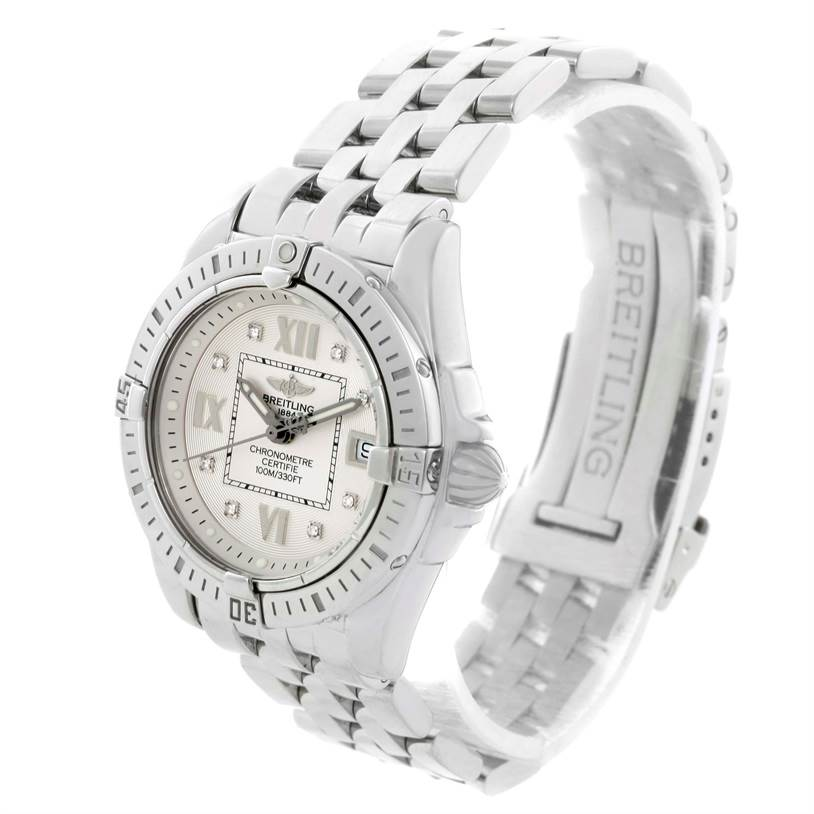 11188 Breitling Windrider Cockpit Silver Diamond Dial Ladies Watch A71356 SwissWatchExpo