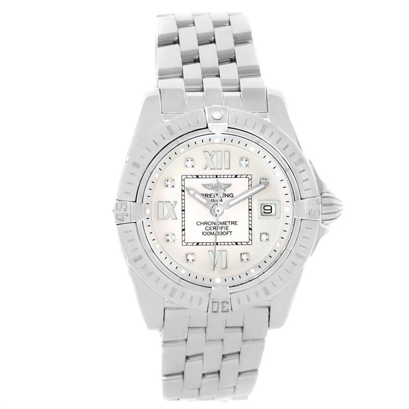 11188 Breitling Windrider Cockpit Silver Diamond Dial Ladies Watch A71356 SwissWatchExpo