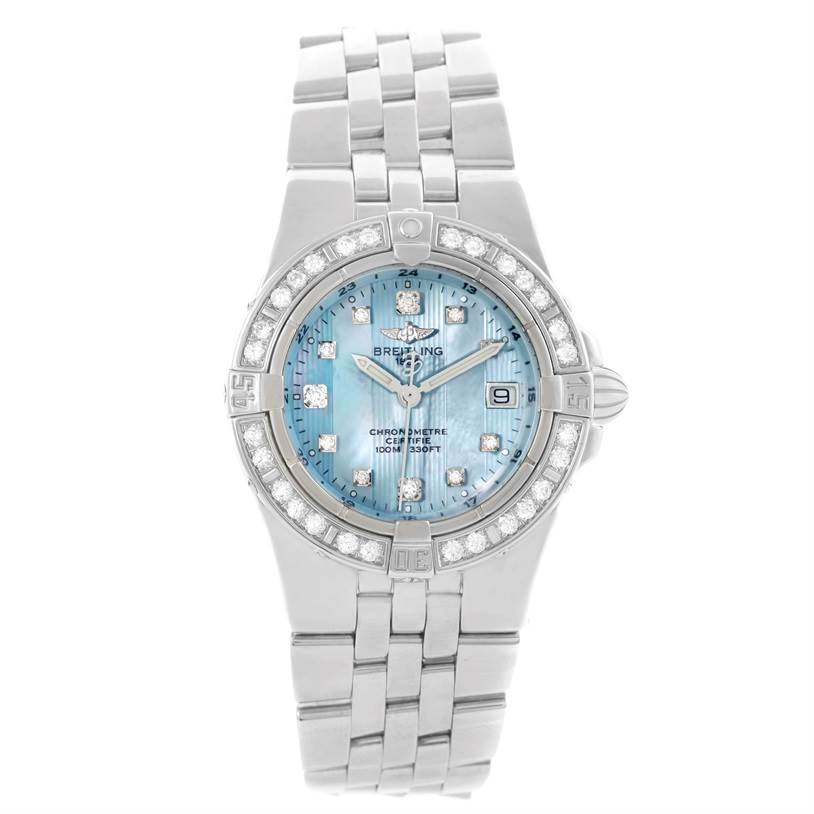 11250 Breitling Starliner Ladies Blue Mother of Pearl Diamond Watch A71340 SwissWatchExpo