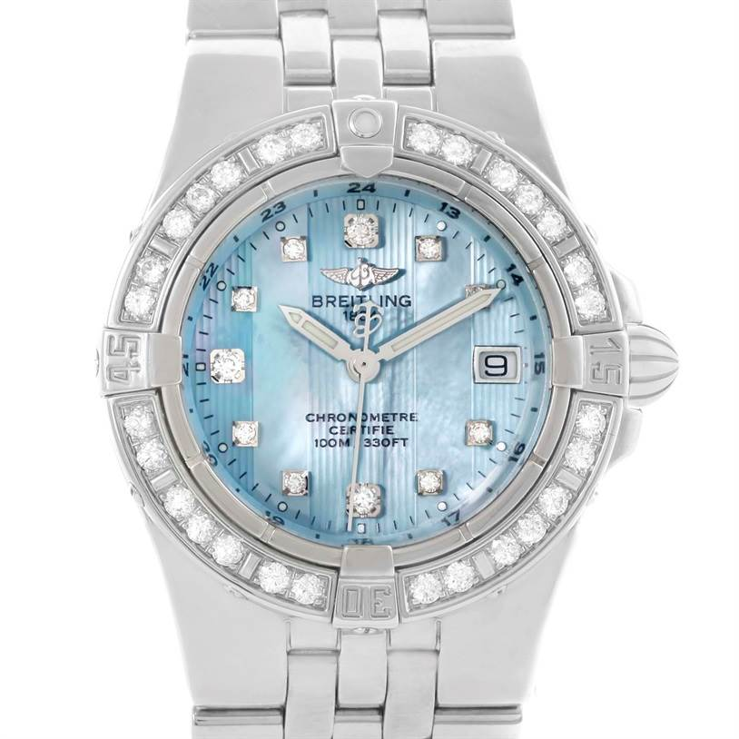 Breitling starliner ladies blue mother of pearl diamond watch a71340 for Pearl watches