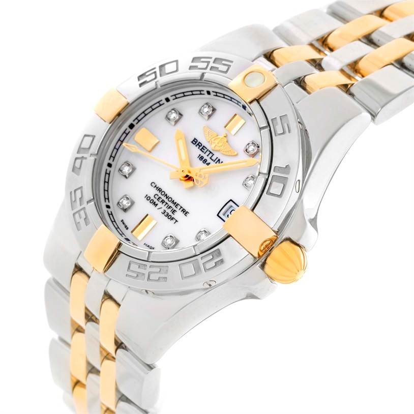 11476 Breitling Galactic 30 Ladies Steel 18K Yellow Gold Diamond Watch B71340 SwissWatchExpo