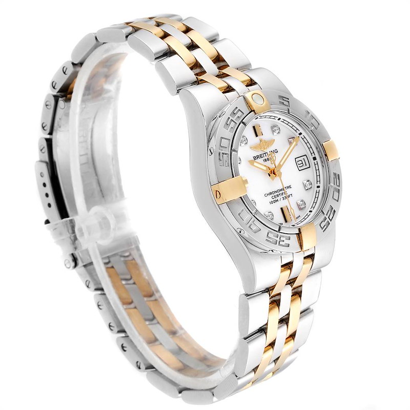 Breitling Galactic 30 Ladies Steel 18K Yellow Gold Diamond Watch B71340 SwissWatchExpo