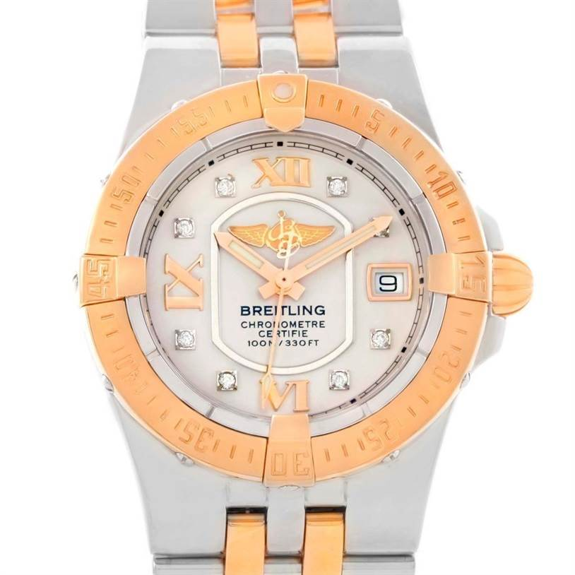 Breitling Galactic 30 Ladies Steel 18K Rose Gold Diamond Watch C71340 SwissWatchExpo