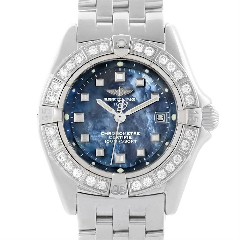 Breitling Callisto Ladies Blue Mother of Pearl Diamond Watch A72345 SwissWatchExpo
