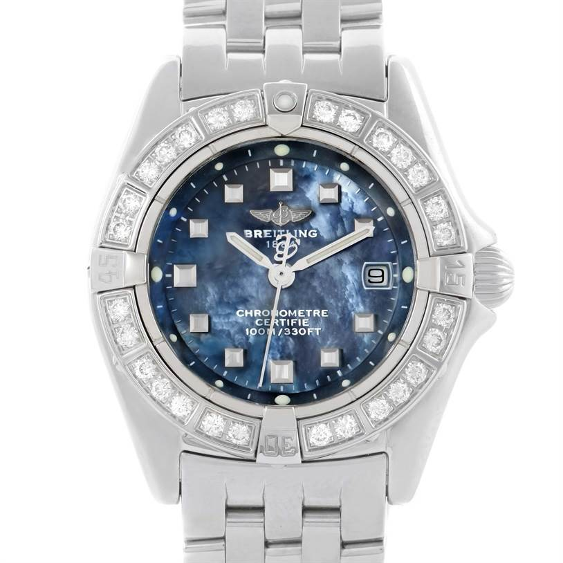 11464 Breitling Callisto Ladies Blue Mother of Pearl Diamond Watch A72345 SwissWatchExpo