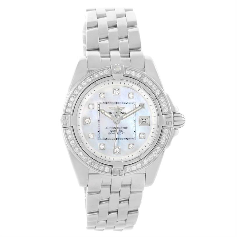 Breitling Windrider Cockpit Mother Pearl Diamond Womens Watch A71356 SwissWatchExpo