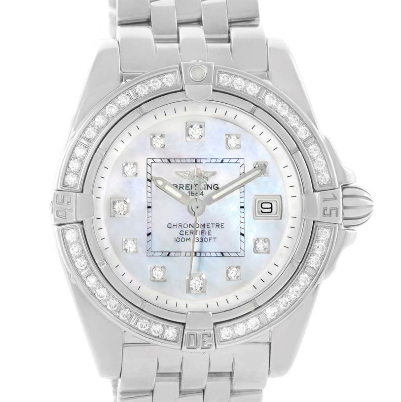 11463 Breitling Windrider Cockpit Mother Pearl Diamond Womens Watch A71356 SwissWatchExpo